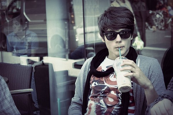 beutiful, boy, coffee, cool, drinking