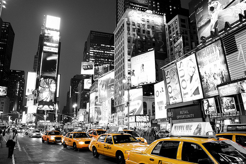 big lights, city, lights, manhattan, new york