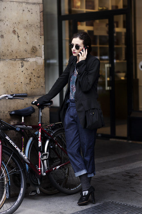 bike, brunette, cell, cols, cool, denim, fashion, girl, heels, jacket, nails, pants, photography, sartorialist, streetstyle, style, sunglasses, the sartorialist
