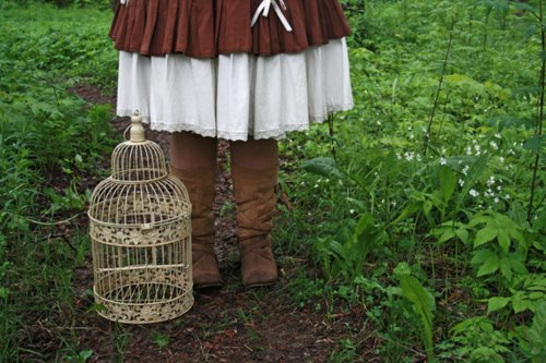 bird, birdcage, boots, flowers, grass, green, mori girl