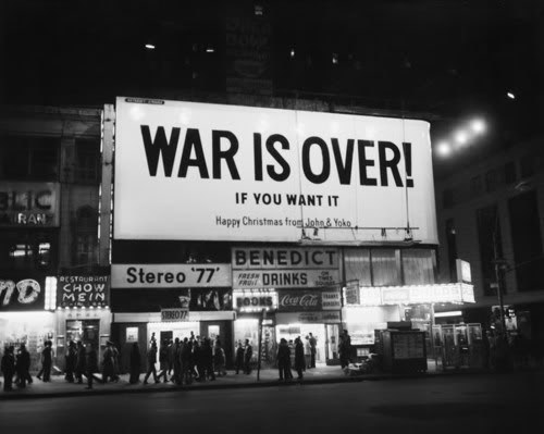 black & white, city, john lennon, war, war is over, yoko ono