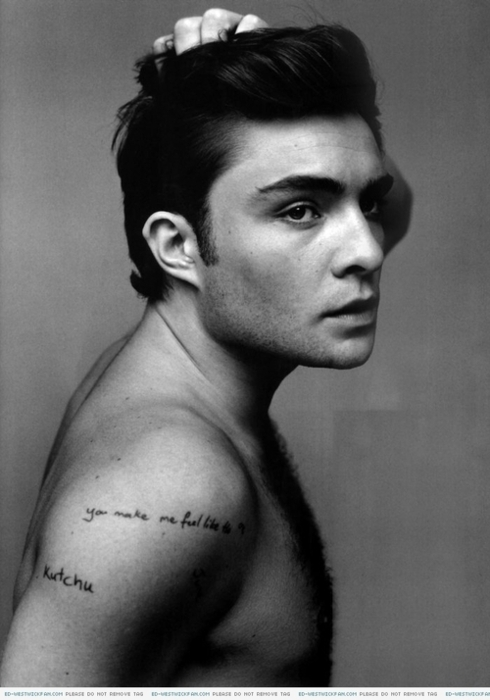 black and white, chuck bass, ed westwick and font tattoo