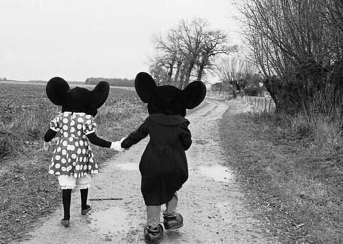 black and white, cute, love, mickey, mickey mouse, minnie, minnie mouse, road
