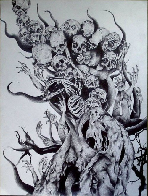 Black and White Skull Drawings