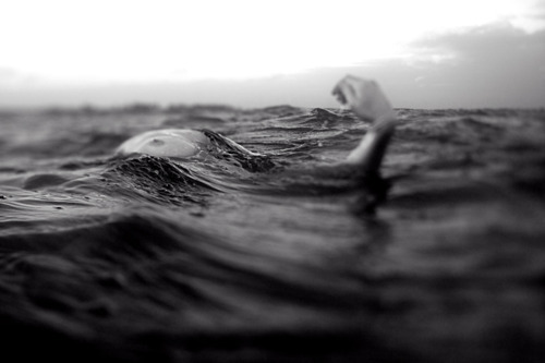 black and white, drown, drowning, gsayour, photography, sea, water, woman