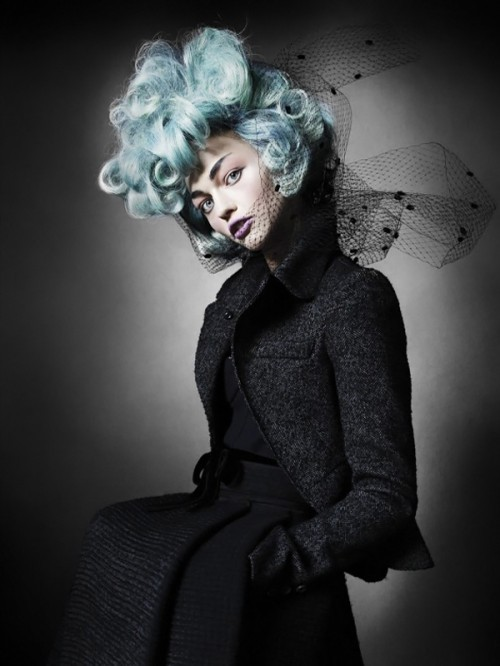 black, blue hair, dyed hair, fashion, fashion photography, haute macabre, mario testino, model, pale blue, powder blue hair