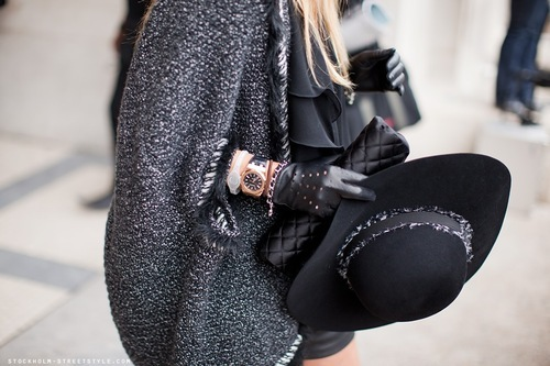 black, clutch, fashion, girl, gloves, gray, hat, knit, leather, style, watch