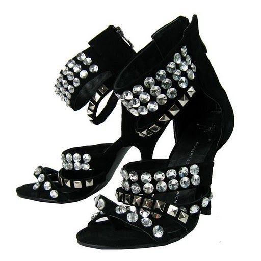 black, cristais, crystal, diamonds, giuseppe zanotti, heels, sandals, shiny, shoes, silver, sparkly, ugly