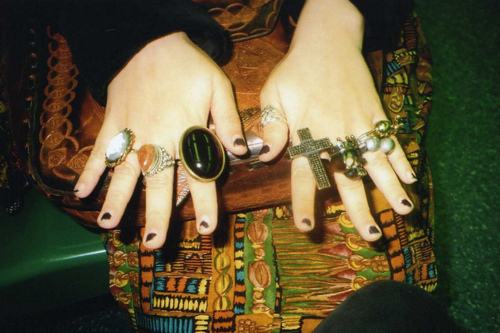 black, fingers, hand, hhands, nail polish, nails, ring, vintage