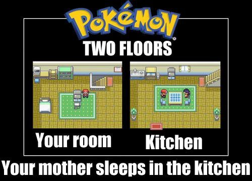 black, game, haha, kitchen, lmfao, lol, mom, mother, photo, pokemon, sleep, sleeps, two floors