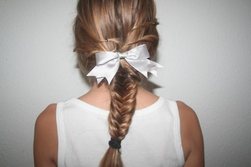 blonde, bow, cute, girl, hair, plait, ribbon