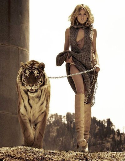 blonde, dress, fashion, girl, model, tiger, wild
