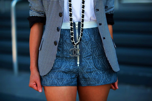 blue shorts, chanel, girl, necklace, spring