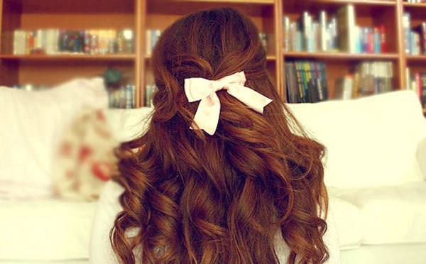 books, brown, girl, hair, ribbon