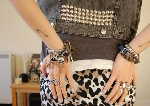 bracelets, cross, denim, fahion, girl, jacket, jeans, rock, skull, spikes, studs, tattoo