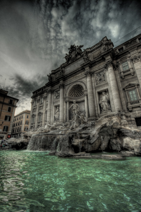 building, clouds, cloudy, di trevi, fountain, roma, sky, water