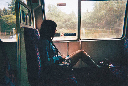 bus, girl, pretty, train