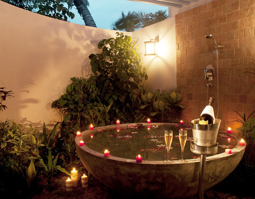 candles, champagne, flowers, fountain, luxury, outdoor, shower