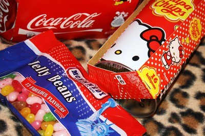 candy, coca cola, cute, hello kitty, jelly beans, leopard, sweets