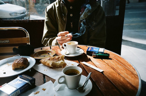 cigarette, coffee, croissanr, pretty, smoke