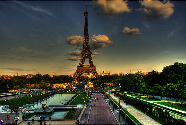 clouds, couple, eiffel tower, france, paris