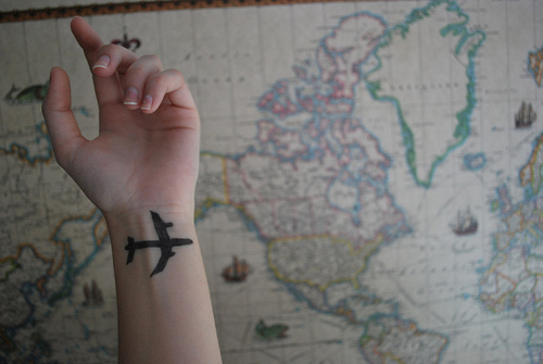 cool, cute, explore, plane, tattoo, travel, world