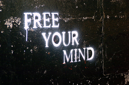 black, cool, free, free your mind, graffiti, mind, quote, wall, white, your