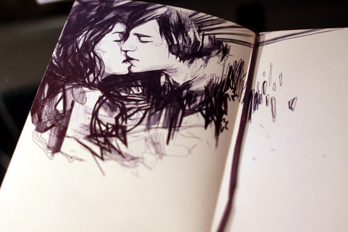 couple, drawing, kissing
