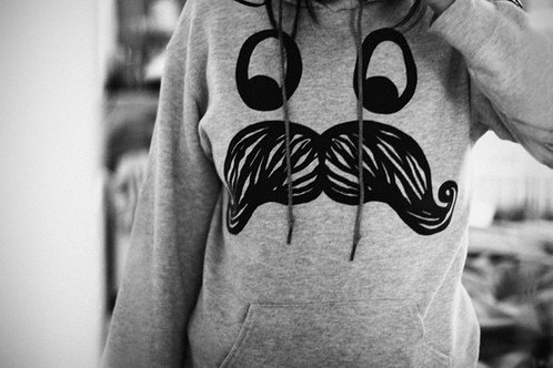 cute, love, mustache, sweatshirt