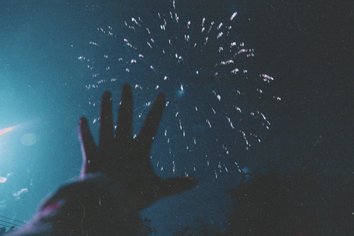 dark, fireworks, hand, reach, reach out