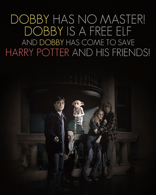 deathly hallows, dobby, harry potter, hermione granger, ron weasley