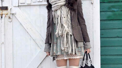 dress, fashion, girl, gray, grey, scarf