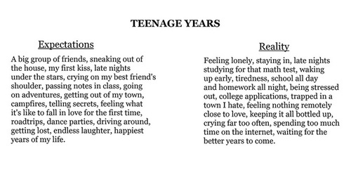 expectations, quote, reality, teenage, text