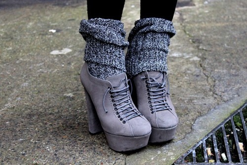 fashion, gray, heels, knit, platforms