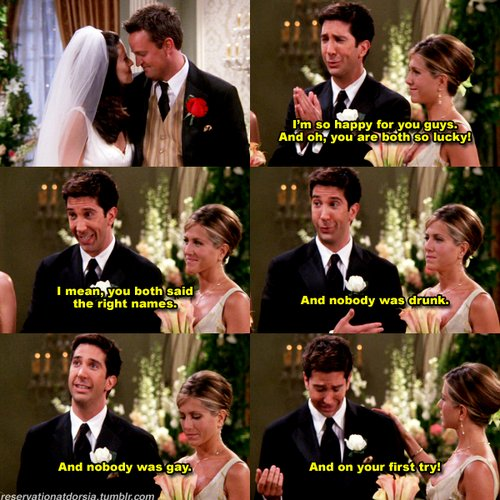 friends, funny, ross, wedding