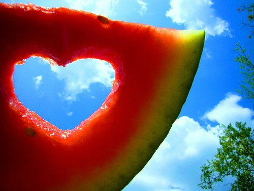 fruit, heart, red, sky, watermelon