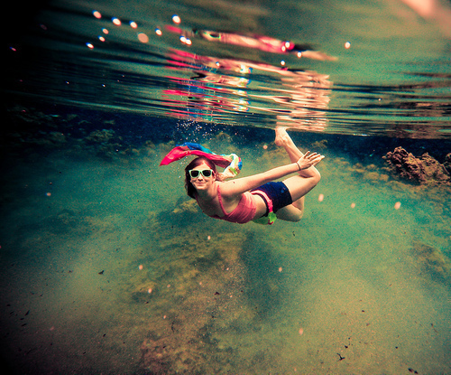 girl, glasses, ocean, pink, sea, smile, swim, swimming, under, under water, water