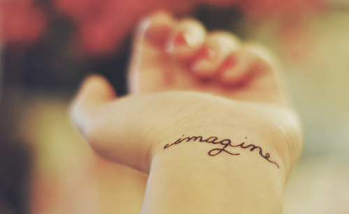 girl, hand, imagine, tatto, tattoo, text, word, wrist