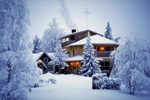 christmas, gorgeous, house, lights, lodge, snow, trees, white, winter, wonderland