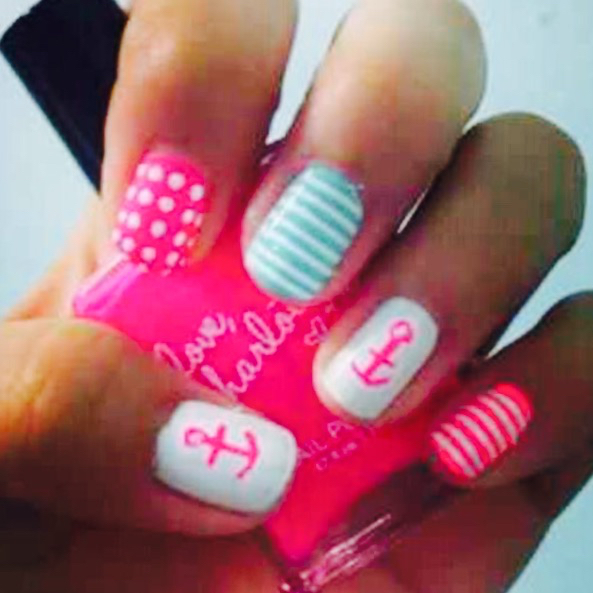 cute, hipster, nails, neon, pink, tumblr - image #2361981 ...