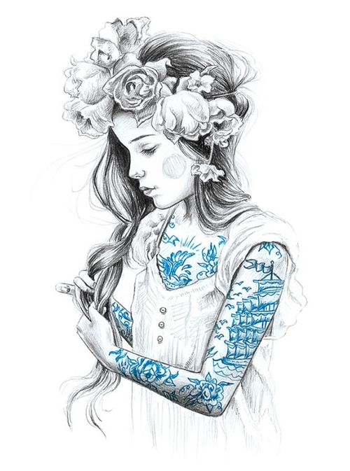 art, drawing, face, flower, girl, hair