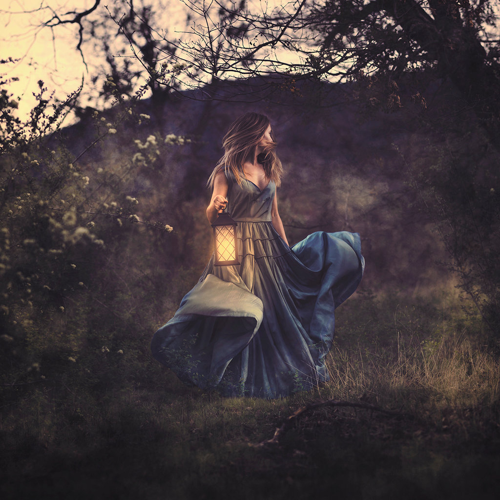 conceptual, dream, fairy tale, fairytale, flowers, forest, girl, magic, magical, nature, trees, wood