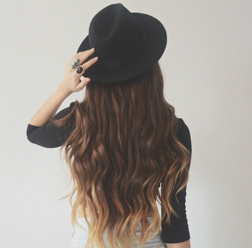 Hairstyles For Long Hair With Hats : hat, brown hair, brunette, cute, fashion, girl, hair, hat, long, long ...