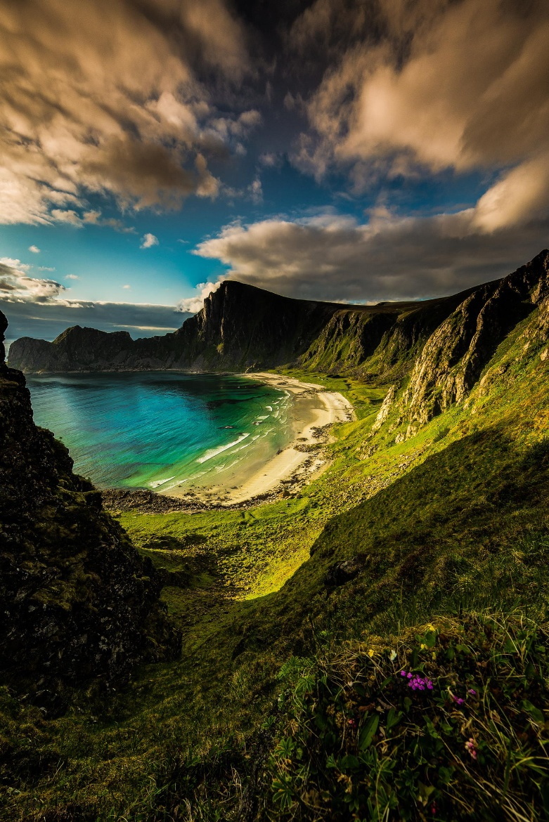beach, cliffs, clouds and landscapes