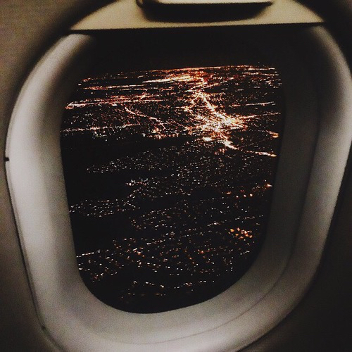 airplane, city, fly and lights