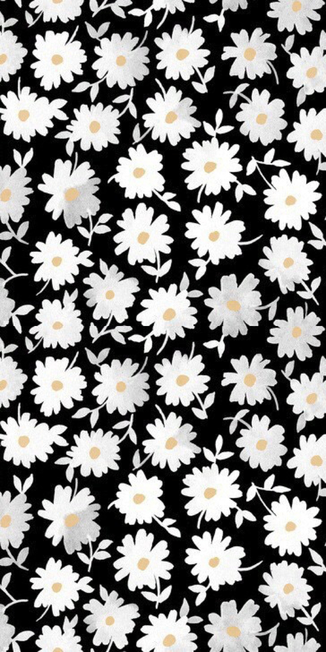 Background Black Flowers Iphone Wallpaper White Image