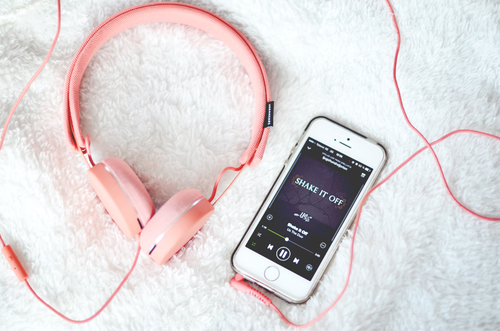 apple, headphones, iphone, love, music, spotify, white