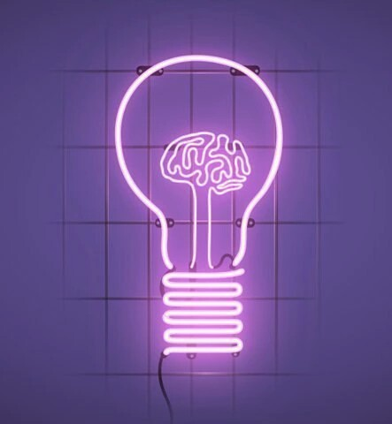 lampadina neon : brain, color, neon, neon lights, purple, tumblr