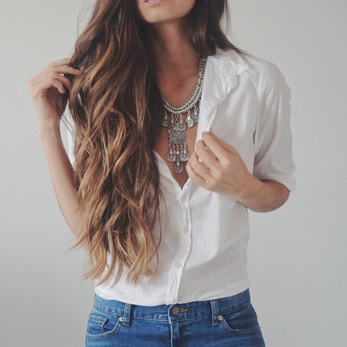 Beautiful beauty fashion goals hair jeans outfit prefect tumblr white outfit goals ...