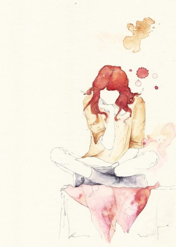 art, book, draw, drawing, girl, hair, inspiration, painting, read, reading, red, watercolor, drawspiration